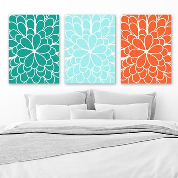 Flower Wall Art, Teal Orange Bedroom CANVAS or Print, Teal Orange Bathroom Decor, Large Flower Artwork, Flower Wall Decor, Set of 3 Decor