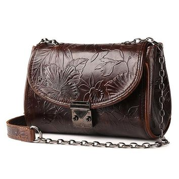 Genuine Leather Ethnic Lock Shoulder Bags Retro Chain Crossbody Bags Messenger Bags