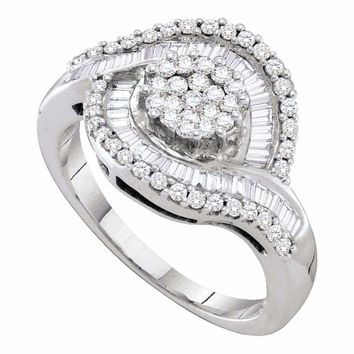 14kt White Gold Women's Round Diamond Flower Cluster Baguette Concentric Ring 1.00 Cttw - FREE Shipping (USA/CAN)
