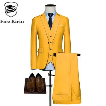 Fire Kirin Mens Suits 2017 Slim Fit 3 Piece Groom Wedding Suit 4XL 5XL 6XL Red Yellow Dark Green White Purple Suits For Men Q20