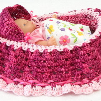 hand crocheted, cradle purse, itty bitty baby, doll, church purse, BG24