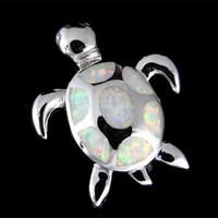 INLAY OPAL HAWAIIAN SEA TURTLE SLIDE PENDANT SOLID 925 STERLING SILVER 21.50MM