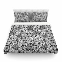 """Julia Grifol """"Candy Flowers In Black"""" Gray White Cotton Duvet Cover"""