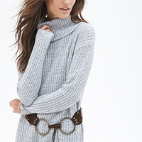 FOREVER 21 Waffle Knit Turtleneck Sweater Grey/Cream