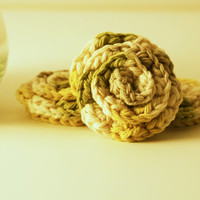 Rosette Face Scrubbies - Three 100% Cotton Washcloths- Exfoliating- Gift for Bridesmaids, Girlfriends, Wedding Favors- Luxury Face Cloths