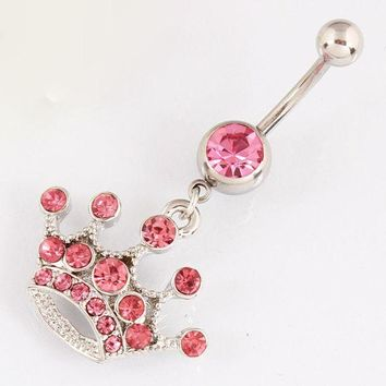 ac DCCKO2Q Rose Imperial crown belly button ring lady body piercing jewelry Retail navel bar 14G 316L surgical steel bar Nickel-free