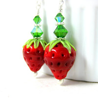 Strawberry Earrings, Berry Earrings, Fruit Earrings, Lampwork Earrings, Red Green Earrings, Food Earrings, Summer Earrings, Food Jewelry