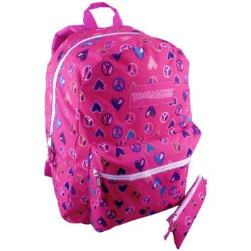 16.5 Inch Fuchsia Hot Pink TrailMaker Heart Peace Sign Design Student Schoolbook Bag Multiple Compartment Backpack with Pencil Case