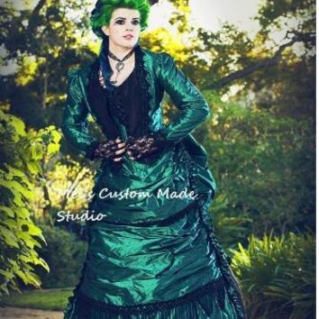 Green Black Gothic Steampunk Victorian Bustle Reproduction 3pce Set Moive Theater&Bridal Dress Lace-Up Period Dress