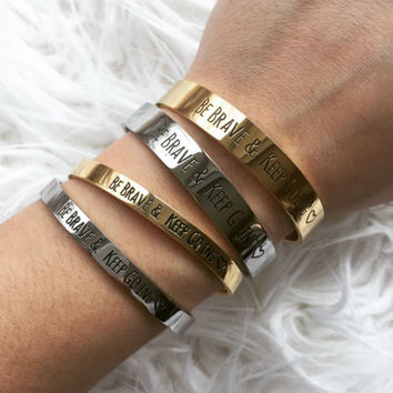 """FLASH SALE - """"Be Brave & Keep Going"""" Bangle Bracelet - Stainless Steel"""