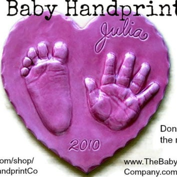 Kids & Baby Footprint and Handprint Heart Ornament - Handprint Ornament for New Mom, Father, Grandparent