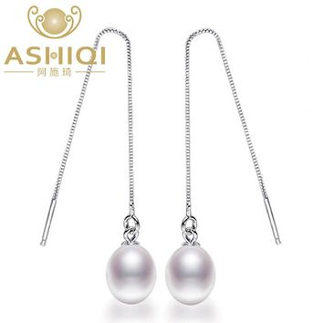 ASHIQI Natural Freshwater Pearl earrings S925 Sterling Silver 9cm long Drop Earrings Pearl Jewelry For Women