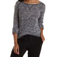 Black Combo Marled Sweater Knit Pullover by Charlotte Russe