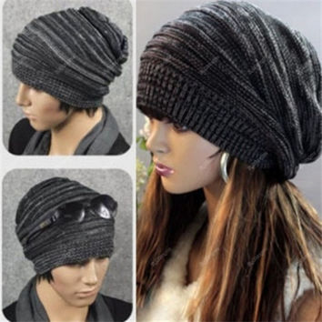 Unisex Women Men Knit Baggy Beanie Beret Winter Warm Oversized Ski Cap Hat = 1958450564