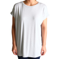 Glacier Grey Rolled Sleeve Piko Short Sleeve Top