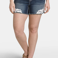 Plus Size - Kaylee Lace Side Dark Wash Shorts - Dark Sandblast