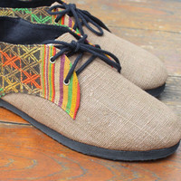 Men's Shoes Vegan Oxfords In Cocoa Brown Natural Hemp & Laos Tribal Embroidery