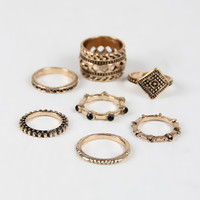 Lucky Seven Wide Etched Rings