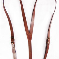 Hand Stitched Leather Suspender in Brown