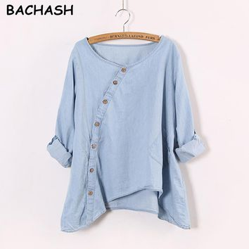 New Women Shirt Slant Oblique Button Irregular Roll Up Sleeve Wash Blue Pocket Loose Casual Top Blouse