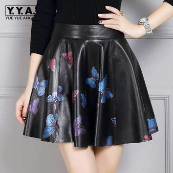 2018 New Fashion Womens High Waist England Style Ball Gown Genuine Leather Sheepskin Female Skirts Butterfly Printing Plus Size