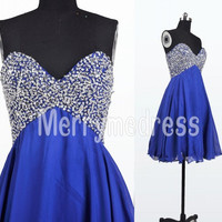 Sequins Dark Royal Blue Sweetheart Straps Short Bridesmaid Celebrity Dress, Chiffon Formal Evening Party Prom Dress New Homecoming Dress