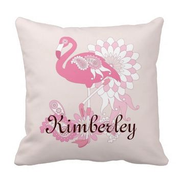 Cute and Whimsical Paisley Pink Flamingo Pillow
