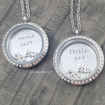 Mama Bear Little Cub Necklace Set, Mother Daughter Lockets, Mama Bear Locket, Floating Lockets, Mom Daughter Lockets, Mother's Day Gift, Mom
