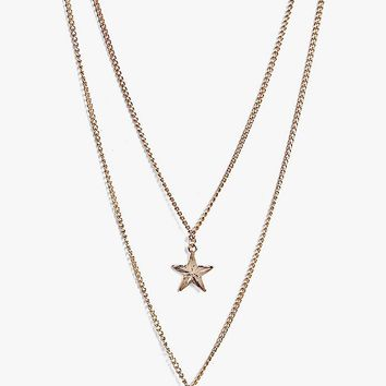 Amber Moon And Star Layered Necklace | Boohoo