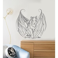 Vinyl Wall Decal Wolf With Wings Angel Dog Pet Stickers (3259ig)