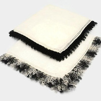 Black And Gray Crochet Lace On Ivory White Hankies Set Of Two
