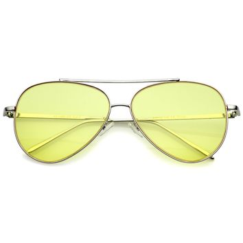 Retro Metal Frame Double Nose Bridge Color Flat Lens Aviator Sunglasses 60mm