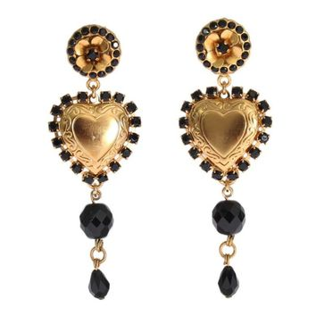 Dolce & Gabbana Gold Black Crystal Heart Dangling Clip On Earring