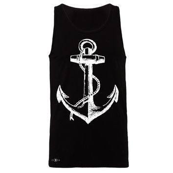 "Zexpa Apparelâ""¢ Anchor White Men's Jersey Tank Nautical Anchor Marine Fashion Sleeveless"