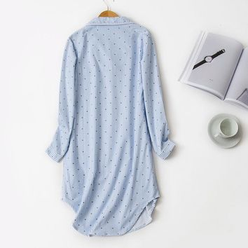Ladies Long Sleeved Cotton Pajamas Winter Spring Onesuits Nightdress Striped Loose Comfortable Nightgown Plus Size Home Clothes