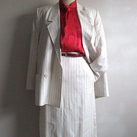 Vintage 1980s Suit Christian Dior Cream Pinstripe Skirt Jacket 12