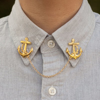 Gold Anchor Collar Clip Collar Chain