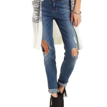 Faded & Destroyed Mid-Rise Skinny Jeans