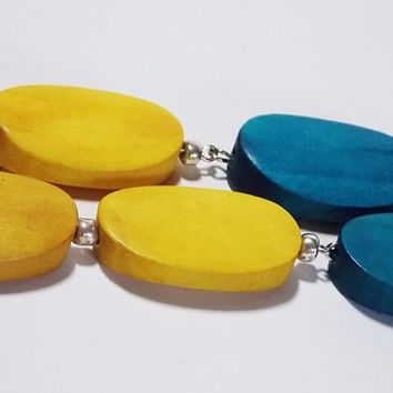 Yellow and Teal Summer Drop Long Wood Earrings with Silver Lever Back Hooks
