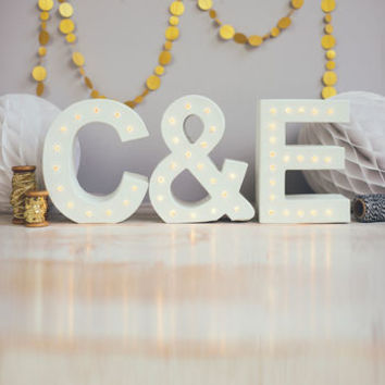 Personalised Couples Initials Letter Lights