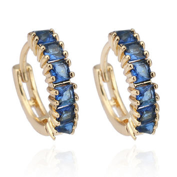 18K Gold Galvanized Zircon Earrings   blue