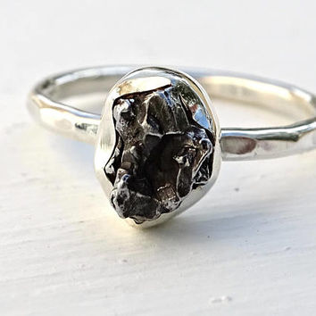 silver meteorite ring, meteorite engagement ring, silver ring meteorite, meteorite promise ring shooting star, space jewelry gift for her