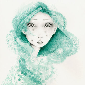 Abstract Watercolor Painting & Pencil Drawing Fine Art Giclee Print of My Original Abstract Painting Fantasy Mermaid  Aqua Teal Painting
