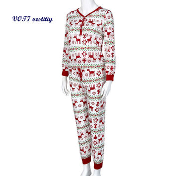 Mother style VOT7 vestitiy Christmas XMAS Adult Woman Pajamas Set Deer Sleepwear Nightwear Pyjamas Gift Oct 19