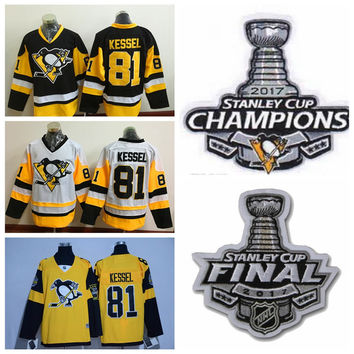 2017 Stanley Cup Champions #81 Phil Kessel Jersey Pittsburgh Penguins Hockey Jersey New Yellow White Black Phil Kessel Stitched Jersey