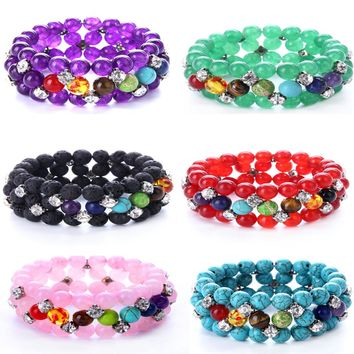 8mm Multilayer 7 Chakra Bracelet for Women Handmade Lava Rock Prayer Stone Beads Yoga Healing Reiki Chakra Bracelet DropShipping