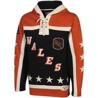 Old Time Hockey 1990 All-Star Lace Pullover Hoodie - Orange/Black