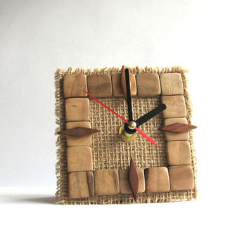 Unique wood desk clock, wood & linen, rustic style