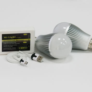 Color Changing LED Bulb Bundle. Comes with 2 Color Changing Bulbs & WIFI Control Box Compatible with iPhone and Android
