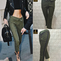 Casual Stylish Vintage Women's Fashion Irregular Strong Character Pants [9328130308]
